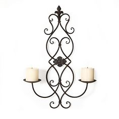 Asense Iron and Glass Vertical Wall Hanging Candle Holder Sconce Fleur De Lis and Scroll Design Holds Two Pillar Candles Single * Want to know more, click on the image.-It is an affiliate link to Amazon. #CandlesHolders