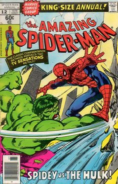 "Amazing Spider-Man Annual, Marvel Comics, ""Spidey vs The Hulk!"" by John Byrne Rare Comic Books, Comic Book Artists, Comic Book Covers, Comic Book Heroes, Comic Books Art, Comic Art, Vintage Comic Books, Old Comics, Vintage Comics"