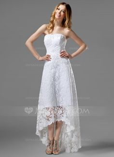 A-Line/Princess Strapless Asymmetrical Satin Lace Wedding Dress With Beading (002000226) - JJsHouse @kmeyer4080