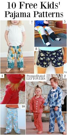 10 Free Kids' Pajama Patterns - a round up of free pajama patterns for boys, free nightgown for girls, and free pajama patterns for girls. Use a pajama tutorial to make a gift for a child in your life.