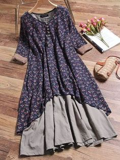 Gracila Floral Printed Two Layers Long Sleeve Vintage Dresses Source by aysek. - Gracila Floral Printed Two Layers Long Sleeve Vintage Dresses Source by aysekrmzgl Dress - Women's Dresses, Dresses Online, Fashion Dresses, Summer Dresses, Loose Dresses, 1950s Dresses, Floral Dresses, Dress Long, Party Dresses