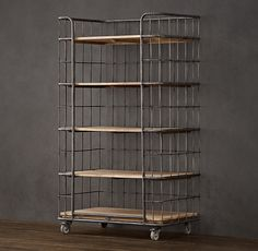 "RH Circa 1900 Caged Baker's Rack Single Shelving $930  Antique, natural-metal finish Metal finish may oxidize over time Dry-oak finish. Sits on 4 casters. 37""W x 18""D x 75""H"