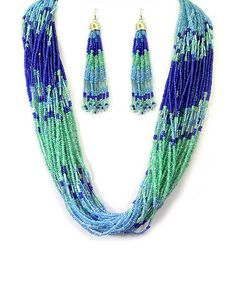 Blue & Green Seed Bead Necklace & Earrings #zulily #zulilyfinds