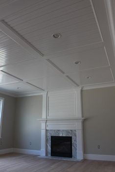 Beadboard+Recess+Panel+Ceiling custom home finish Previous Post Next Post Basement Makeover, Basement Renovations, Home Remodeling, Basement Ideas, Modern Basement, Basement Layout, Basement Designs, High Ceiling Lighting, Basement Lighting