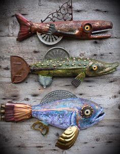 Fish art by Rachel Laundon - Upcycled fish - If you like these follow me on facebook to see my other creations. Available anytime and all the time. #artist #etsyseller #facebook #superfun #ilovethis