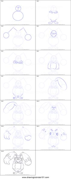 How to Draw Diggersby from Pokemon printable step by step drawing sheet : DrawingTutorials101.com