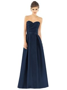 Strapless full length dupioni dress with draped asymmetrical bodice. Matching self belt at natural waist. Full pleated skirt has pockets at side seams. Also available cocktail length as style D536. Available in sizes 00-30W.   http://www.dessy.com/dresses/bridesmaid/d537/