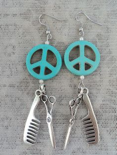 Peace Love and Hair Stylist Scissor and Comb Charm Earrings. $12.00, via Etsy.  Give Peace a Chance! :D  #ScissorJewelry #Jewelry #Scissors #CustomSharpening #ScottRoskam  http://customsharpening.com/