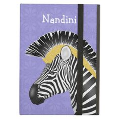 Trojan Zebra iPad Air Case - This cute iPad Air case features a graphic design of the head of a Grant's zebra in profile wearing a Trojan or Greek style helmet brush instead of its usual mane. The base of the brush mane is detailed in gold with a typical ancient Greek design. The background is a repeating ancient Greek floral motif in lavender.