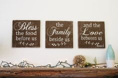 Bless The Food Before Us Wood Wallhanging Wood Kitchen Sign Wood Dining Room Sign Distressed Wood Home Decor Rustic Chic Wedding Gift Wood Home Decor, Rustic Decor, Rustic Chic, Rustic Style, Farmhouse Style, Shabby Chic, Wood Kitchen Signs, Kitchen Vinyl, Cozy Kitchen