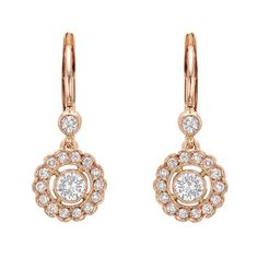 Pink Gold Diamond Cluster Drop Earrings | From a unique collection of vintage drop earrings at http://www.1stdibs.com/jewelry/earrings/drop-earrings/