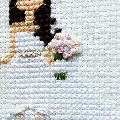 """182 Likes, 15 Comments - Cross stitch family portraits😉 (@famolya) on Instagram: """"A sneak peek of a wonderful wedding bouquet.😍And of a beautiful wedding dress.😉Oh, I LOVE wedding…"""""""