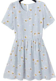 Vestido plisado margarita manga corta-azul claro 12.99