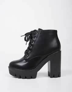 Black Chunky Lace-Up Boots