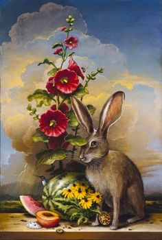 Kevin Sloan,Summer Bouquet - 2012 36 x 24 inches Animal Art, Surreal Art, Fantasy Art, Painting, Illustration Art, Rabbit Art, Art, Bunny Art, Animal Paintings