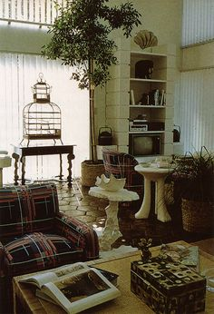 Interior of Angelo Donghia's Townhouse. Tremendous.  cinder block like shelving unit back right