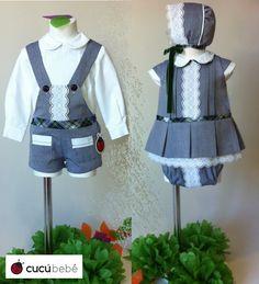 Conjunto niño y niña  http://www.cucubebe.com/82-conjunto-de-peto-y-camisa-para-bebe.html y http://www.cucubebe.com/85-conjunto-de-nina-de-vestido-bragas-y-capota.html
