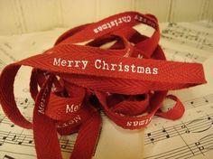 Merry Christmas  Cotton Twill Ribbon  3 Yards by GlitterandKitsch, $2.25