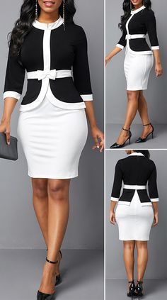 Three Quarter Sleeve Faux Two Piece Color Block Dress Cute Dress Outfits, Classy Work Outfits, Classy Dress, Cute Dresses, Casual Dresses, Dresses With Sleeves, Beautiful Dresses, African Wear Dresses, Latest African Fashion Dresses