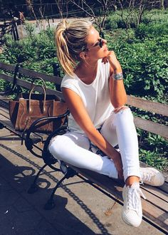 All White. Casual look with gorgeous CELINE suede bag