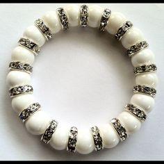 White Totti Beaded Stretch Bracelet