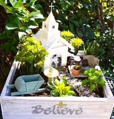 """White Chapel Planter ~ Herb Garden ~ 12"""" Wooden Planter ~ White Chapel ~ Bench and Table with Bible and Journal ~ Pastor Gift by BeachCottageBoutique on Etsy https://www.etsy.com/listing/497494273/white-chapel-planter-herb-garden-12"""