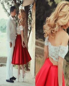 A003 Short Prom Gowns,Sweet 16 Dress,Off Shoulder Prom Dress,Two Pieces Evening Dress,Lace Red Tea-Length Casual Homecoming Dresses 2017,Chic Cocktail Gowns,Homecoming Dress