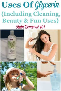 Here is a round up of tips for the uses of glycerin for cleaning, laundry and stain removal, plus some other fun uses as well {on Stain Removal 101} #GlycerinUses #UsesOfGlycerin #HouseholdRemedies Deep Cleaning Tips, House Cleaning Tips, Cleaning Solutions, Cleaning Hacks, Green Cleaning, All You Need Is, Homemade Toilet Cleaner, Cleaning Painted Walls, Thing 1