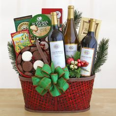 'Tis any occasion for creating such a wonderful basket featuring three delightful bottles of California wine. Basket includes: three bottles of California wine: a Cabernet Sauvignon, a Merlot and a Chardonnay. $110.00 Get this here > http://shop.o2o.com/item.php?LBB-rkP722x5H-20616