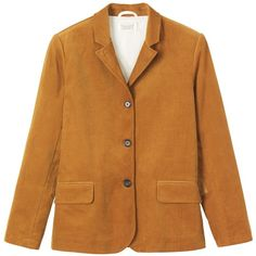 Toast Corduroy Jacket (155 BRL) ❤ liked on Polyvore featuring outerwear, jackets, coats, tops, blazer, golden ochre, blazer jacket, collar jacket, pocket jacket and cordoroy jacket