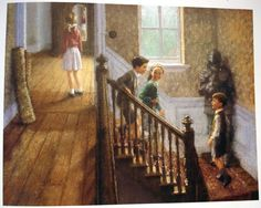 The Pevensies in the Professor's House! Illustration by Christian Birmingham Narnia Book Series, Chronicles Of Narnia Books, Book Tv, Aslan Narnia, Narnia Cast, Cs Lewis, Fanart, Lost City, Children's Book Illustration