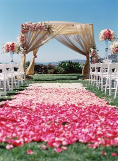 Lush pink and draping...beautiful outdoor ceremony