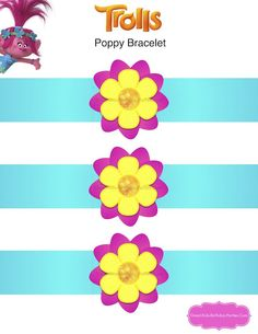 Trolls Party - Play with Poppy with your own free printable Trolls Poppy bracelet.