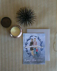 New Years Family Card by Honeyhuepaperco on Etsy