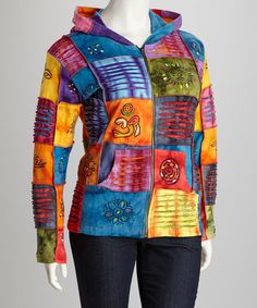 Take a look at this Purple & Citrus Rainbow Patchwork Zip-Up Hoodie - Plus by Rising International on #zulily today!
