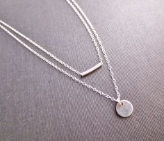 Sterling Silver Layered Necklace Silver Rectangle by chipandchisel
