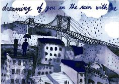 New Illustration for the NY Times Townies section. Standing In The Rain, Aqua Wedding, Student Travel, Book Nerd, Tower Bridge, Ny Times, Art World, Painting & Drawing, Illustrators
