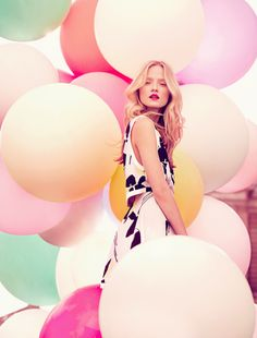 fabulous color in this photo for miss dior cherie ad. - love the balloons too.