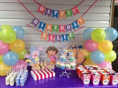 Dora the Explorer birthday party dessert table! See more party ideas at CatchMyParty.com!