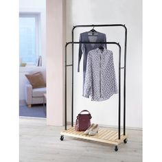 Metal & Wood Rolling Garment Coat Rack with Wheels Single or Double Rod Rail for sale online Diy Clothes Hanger Storage, Rolling Clothes Rack, Diy Coat Rack, Coat Racks, Black Closet, Diy Clothes Videos, Hanger Rack, Closet Rod, Garment Racks
