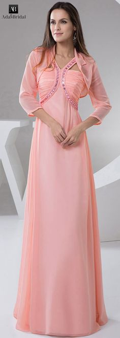 NEW! Graceful chiffon V-neck neckline floor-length sheath evening dresses with beadings (SOD52329)
