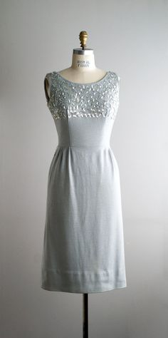 1950s SILVER MOON wool cocktail dress