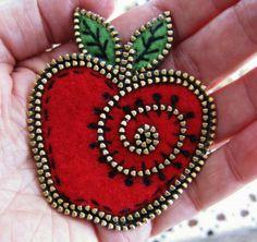 Apple brooch...sweet!! by woolly  fabulous, via Flickr