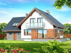 Projekt domu Noelia BIS 2M 130,09 m2 - koszt budowy - EXTRADOM Dream House Plans, Facade House, House 2, Home Fashion, Malaga, Teak, Shed, Sweet Home, New Homes
