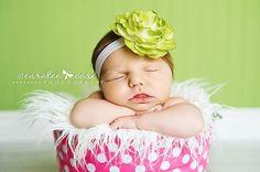 Baby Girl HeadbandsNewborn HeadbandGreen Flower by HartsandRoses, $8.75