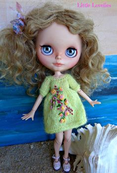 BLYTHE DOLL Dress - OOAK - pretty mohair knitted dress with vintage hand embroidered feature by LittleLovelieShop on Etsy