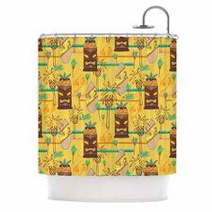 "Jane Smith ""Surfing Tiki"" Yellow Pattern Shower Curtain"