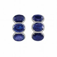 Pair of White Gold, Sapphires and Diamond Earrings - by Doyle New York