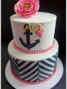 Navy And Pink Bridal Shower Cake Modern chevron nautical cake with pink ranunculus. I used Marvelous Molds clever chevron onlay and used. Pretty Cakes, Cute Cakes, Beautiful Cakes, Amazing Cakes, Bridal Shower Cakes, Baby Shower Cakes, Fondant Cakes, Cupcake Cakes, Cake Pops
