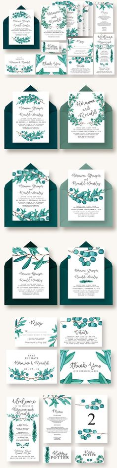 Eucalyptus Wedding Suite Vol.4. Invitation Templates. $22.00